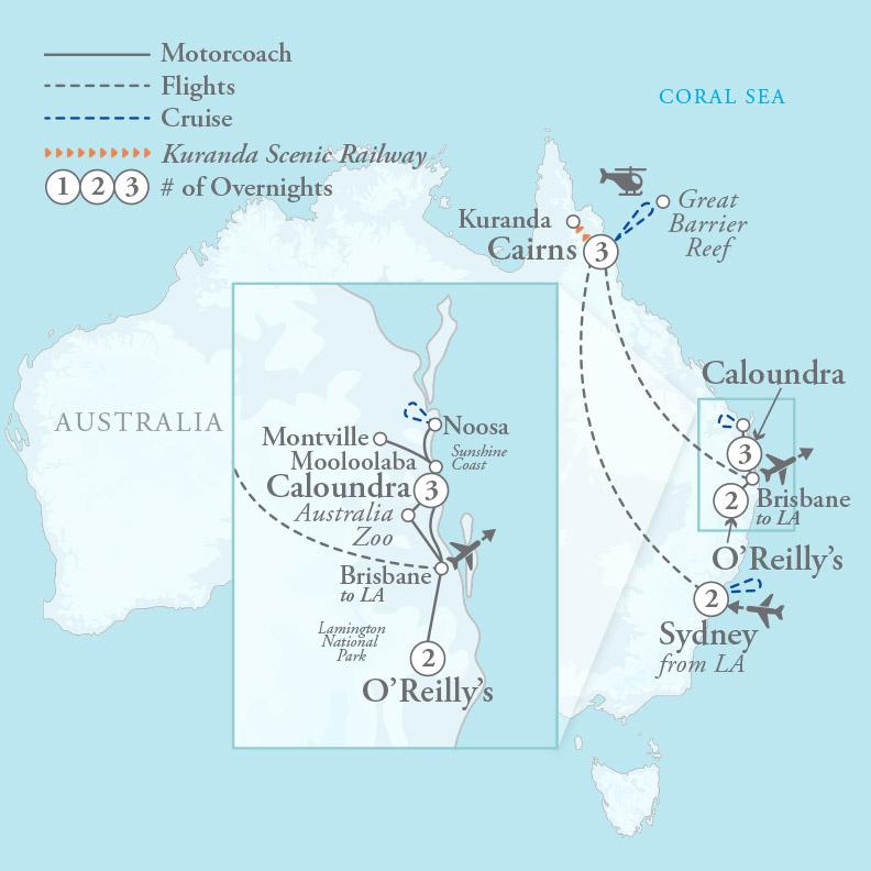 Tour Map for Wonders of Australia