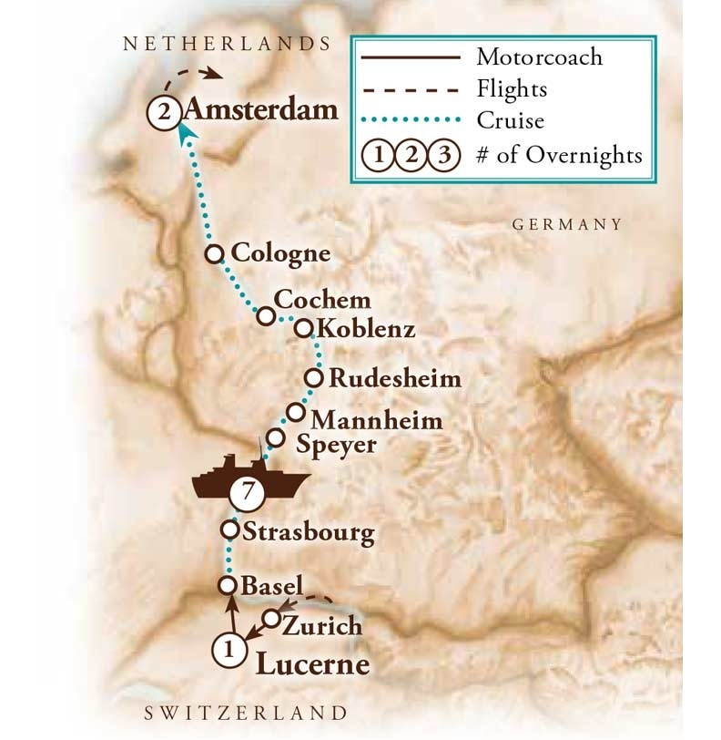 Tour Map for Rhine River Cruise - Switzerland to Amsterdam