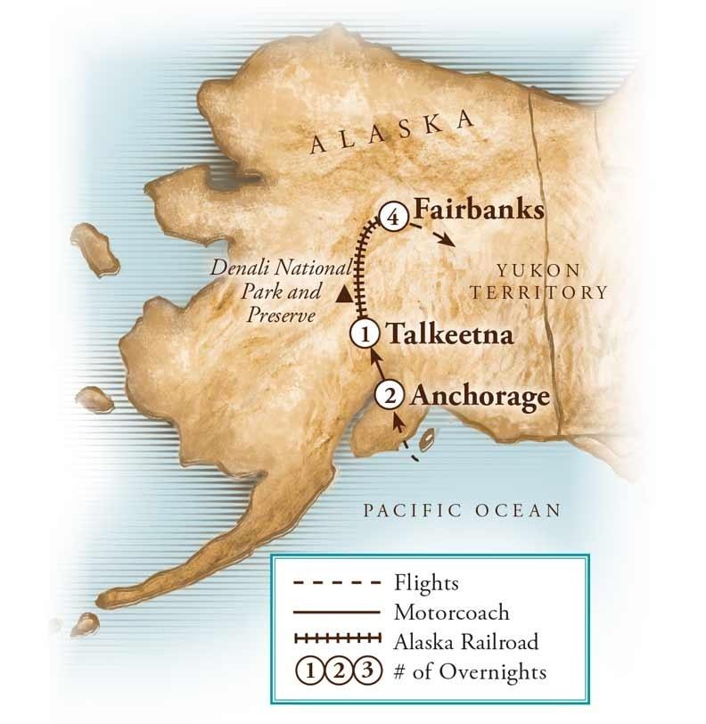 Tour Map for Alaskan Aurora Adventure