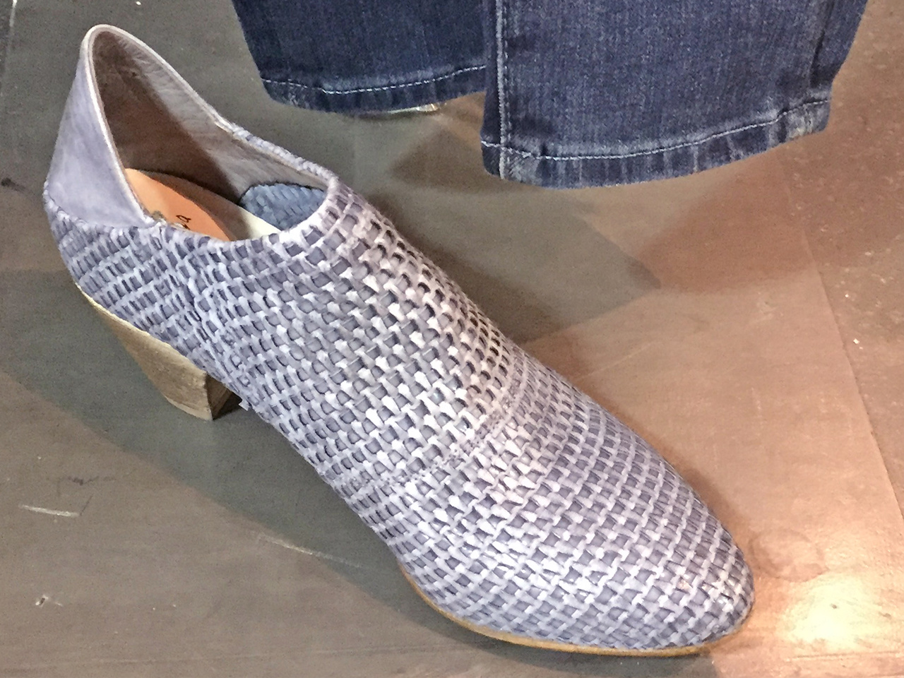 From Betsy Prince: La Bottega di Lisa gray woven leather bootie, $435