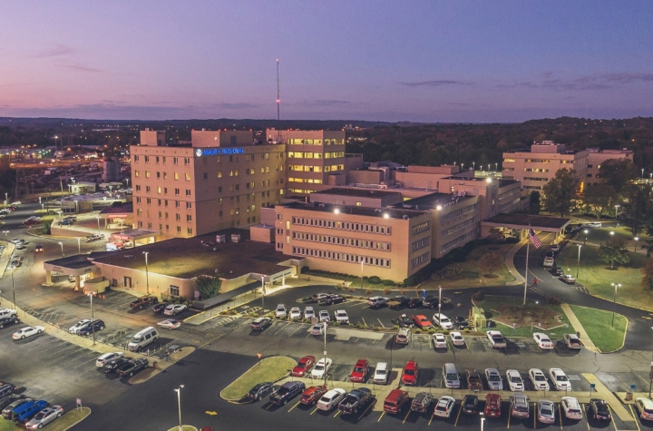 Maury hospital building and parking lot