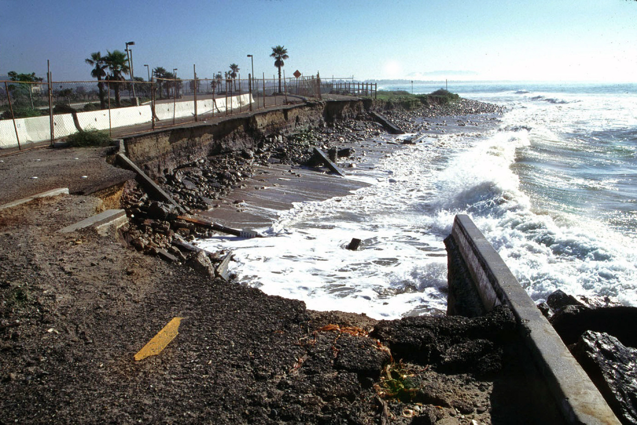 Erosion destroyed this Ventura bike path and part of a parking lot built on fill.