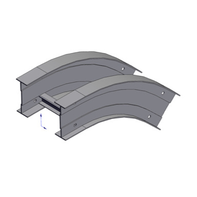 Cable tray 3D rendering of metallic vertical fitting elbow outside 45 degree section