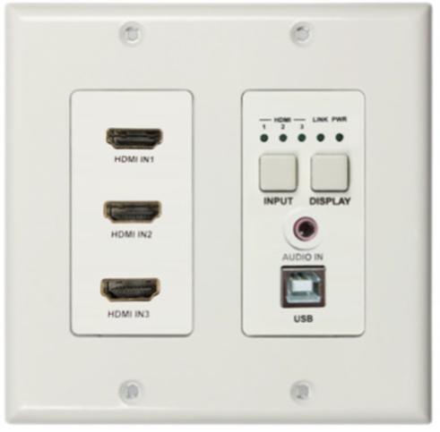 DL-3H1U-WP-W - DigitaLinx Three HDMI HDBaseT Wall Plate w/ USB