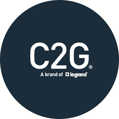 C2G logo with navy blue background