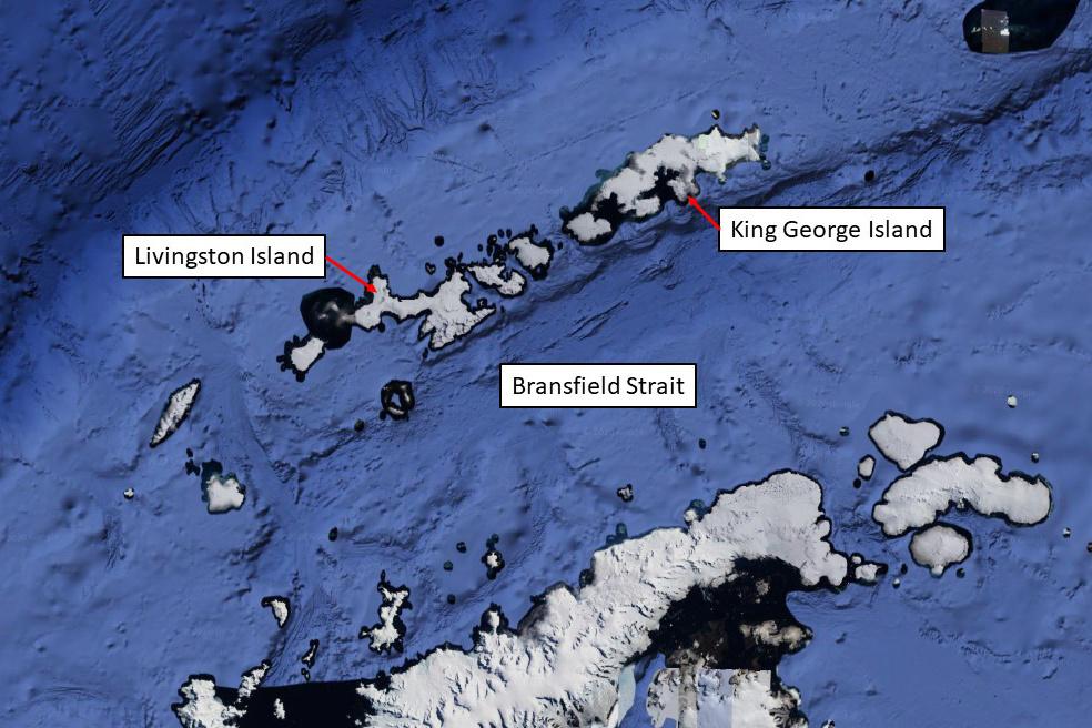"Gliders ""AMLR01"" and ""AMLR03"" were deployed in the Bransfield Strait. Glider ""AMLR02"" is north of Livingston Island."