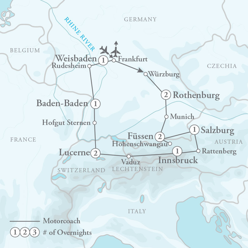 Tour Map for Treasures of Central Europe