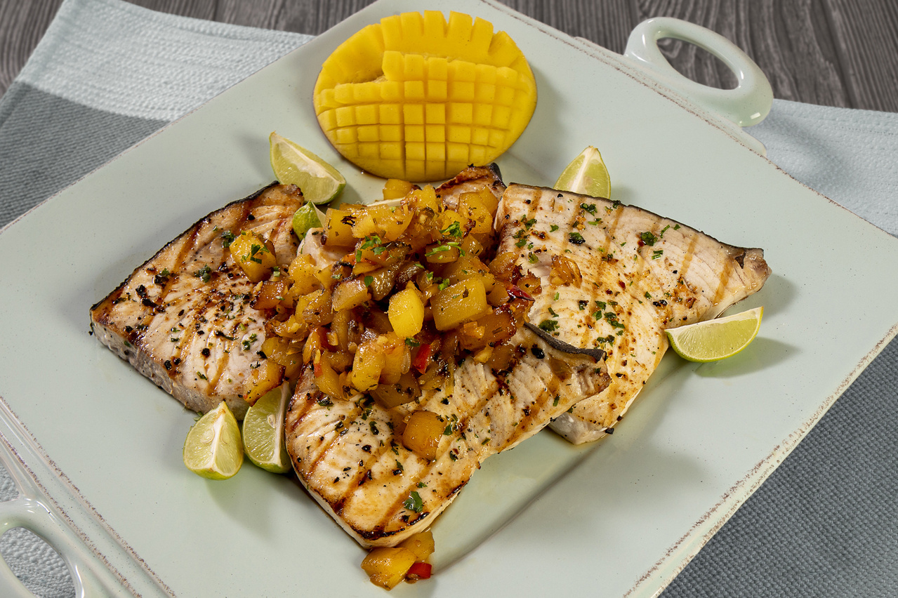 Grilled swordfish with mango chutney