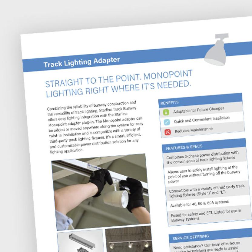 Screen shot of the Track Lighting Adapter fact sheet