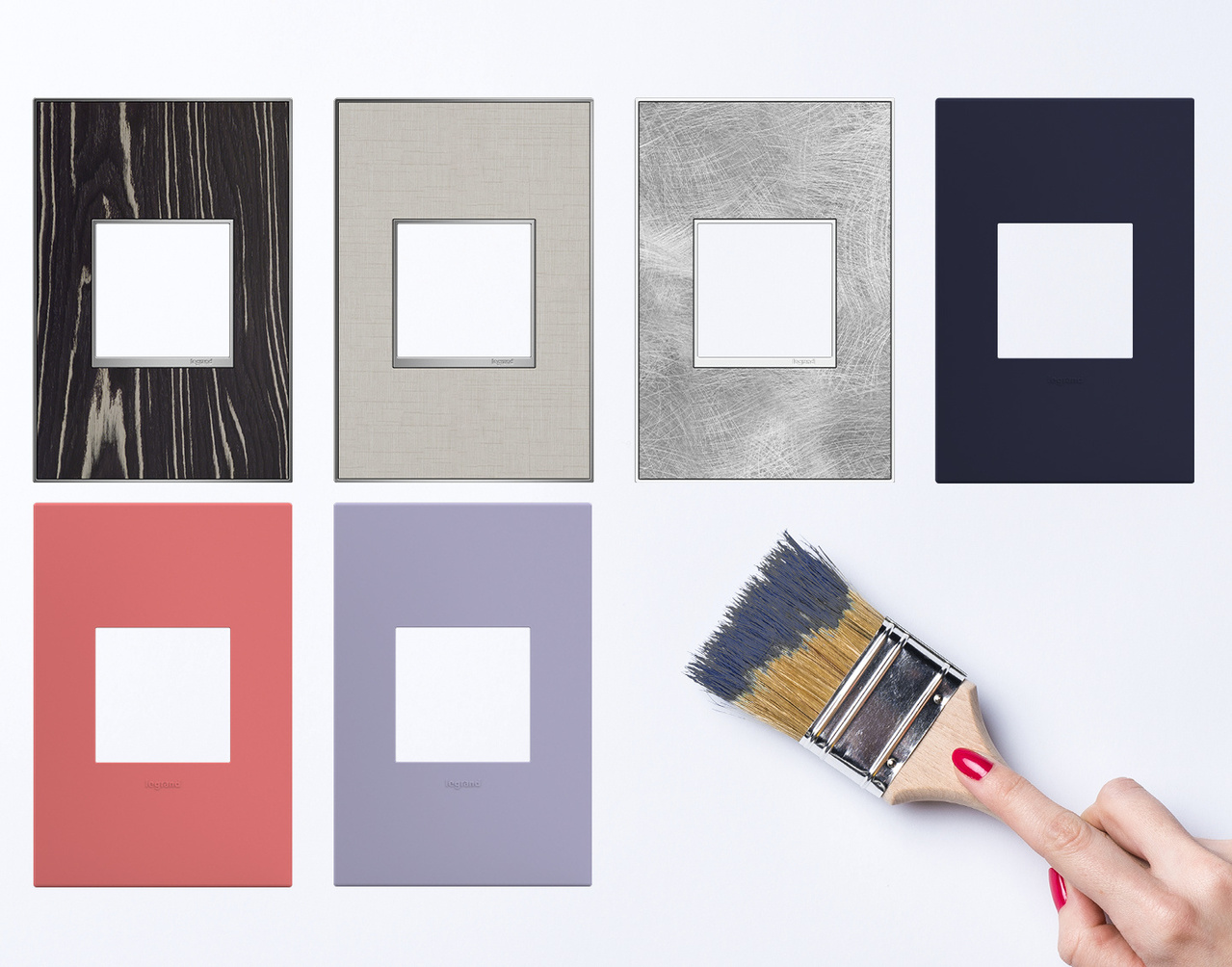 adorne Collection designer wall plates collage next to a paint brush