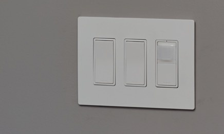 three-gang paddle switches with light sensor
