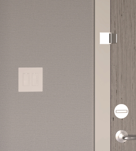 Hotel room door with light switch