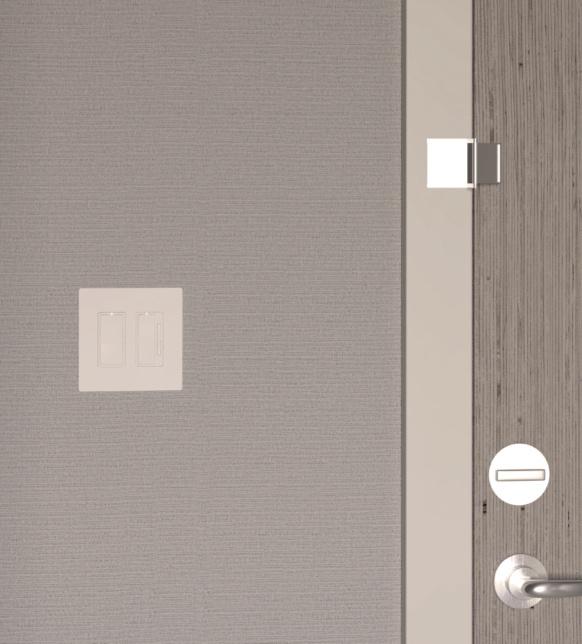 Hotel room door with light switch