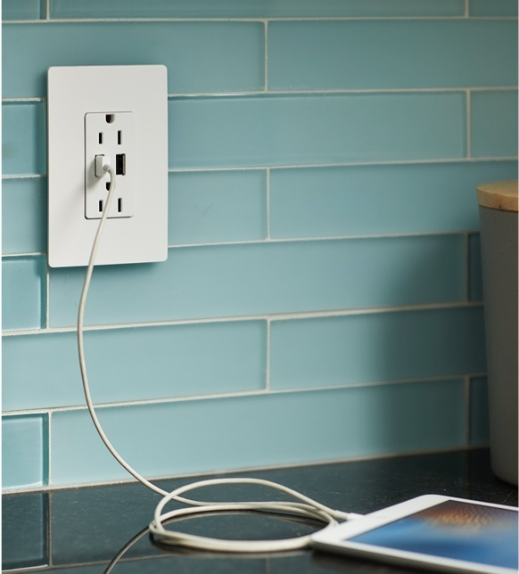 radiant Collection by Legrand USB-A/C outlet in white charging tablet
