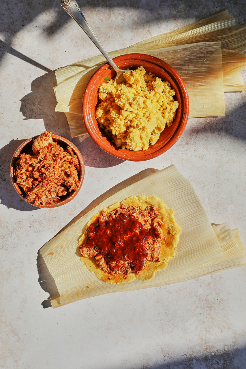 Simple Holiday Tamales with Guajillo Pasilla Simmer Sauce