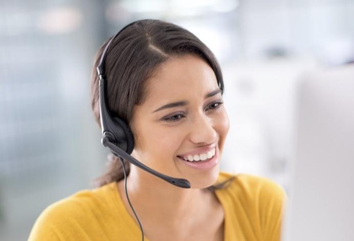 Customer support representative on phone