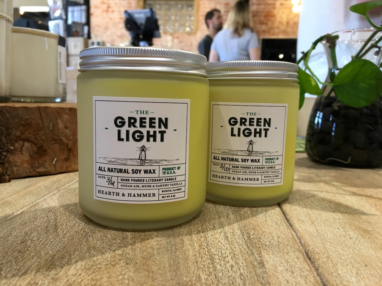 Green Light candles, $18 each at City & State.