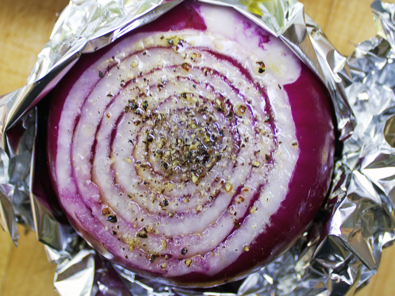 Be sure to wrap your red onion in foil when on the grill.