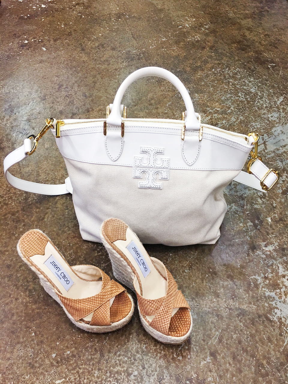 Tory Burch bag, $168, and Jimmy Choo wedges, $125.50, at Second Hand Rose