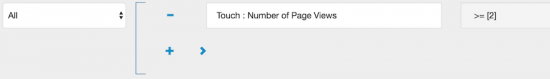 Acquia Lift segment identifying the number of Page Views