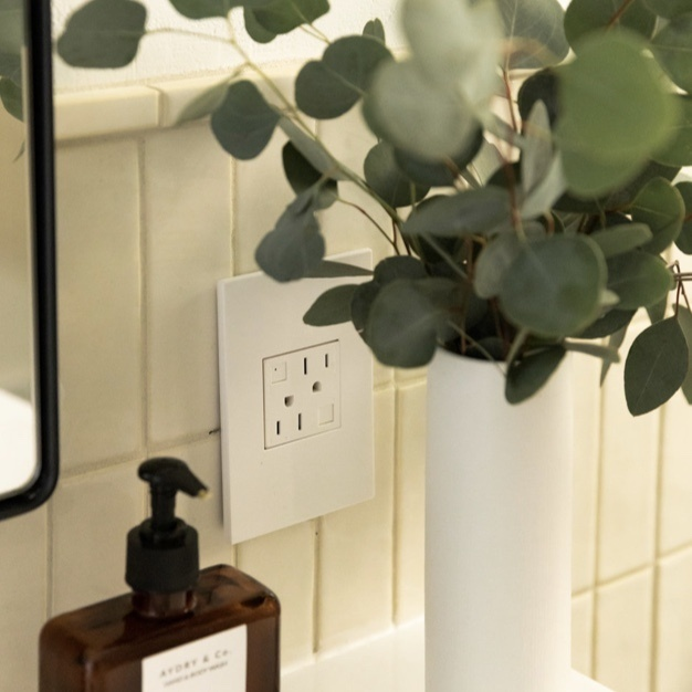 White gfci outlet in bathroom next to soap and green plant