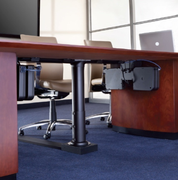 Wood desk with tan leather office chairs