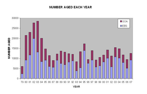 Number of walleye pollock aged each year from 1979 to 2007 graphic