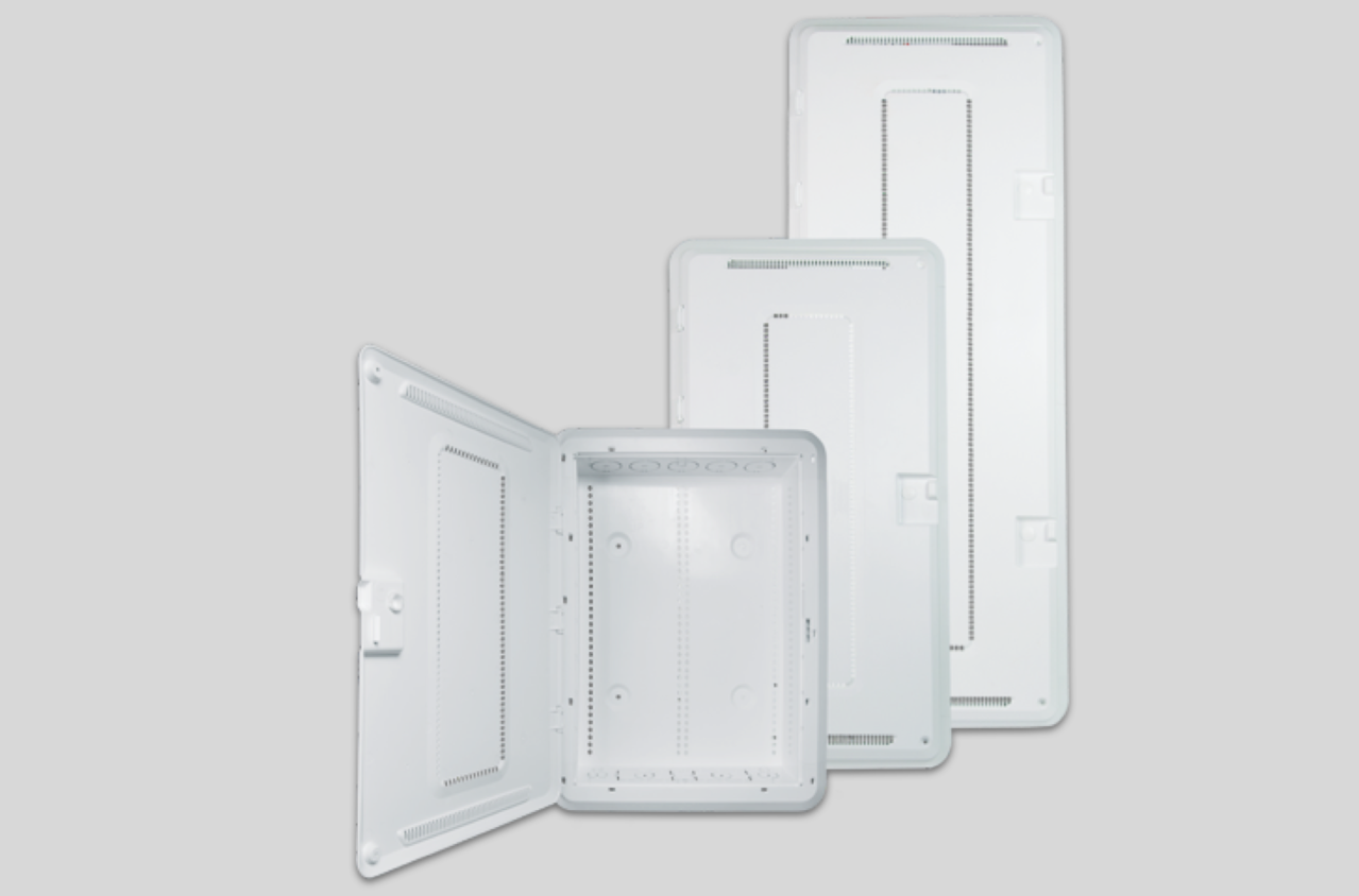 white plastic enclosures