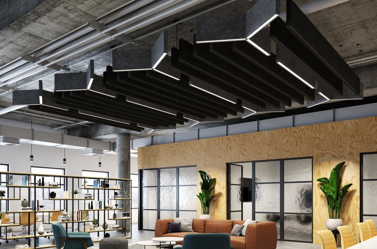 Custom lighting fixtures in an open modern office