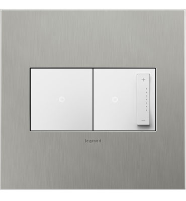 adorne 2-Gang Brushed Stainless Steel Wall Plate