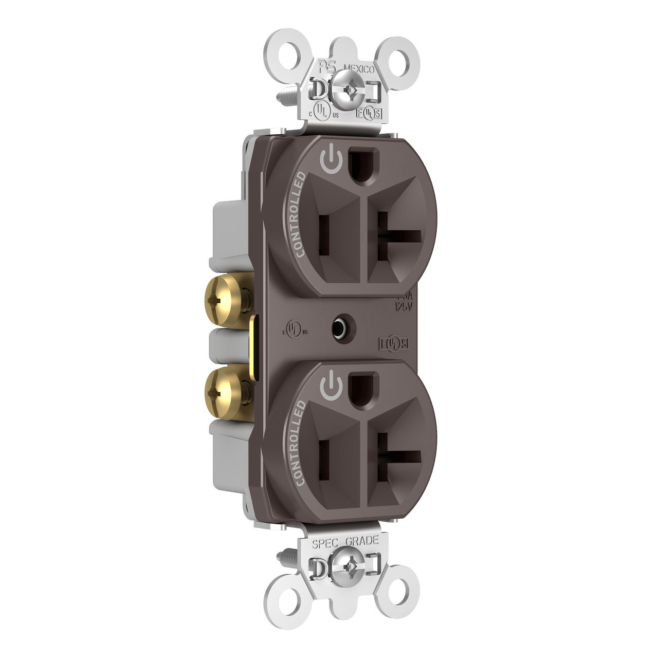 20A, 125V Dual-Controlled Plug Load Controllable Receptacle, Brown