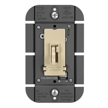 TOGGLE SLIDE DIMMER FLUORESCENT, SINGLE POLE / 3-WAY 8A, IVORY