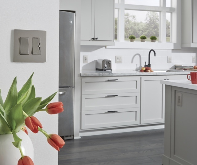 Mobile image of radiant switches in a transitional style kitchen