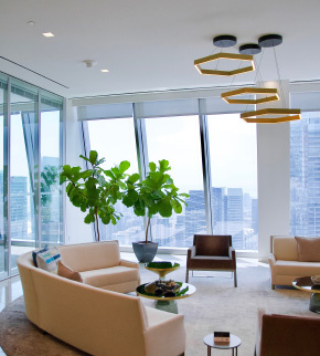 Large modern office waiting room with slanted windows and Solarfective Shades