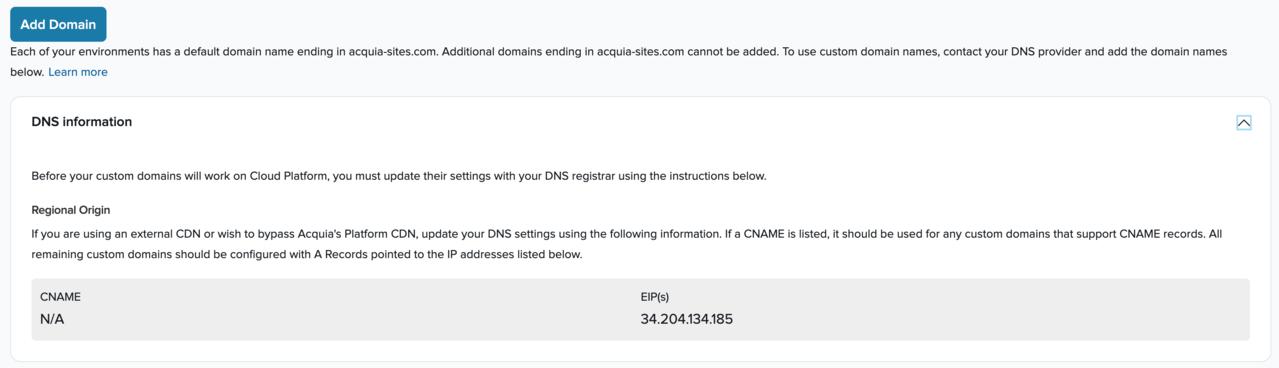 Box displaying DNS information