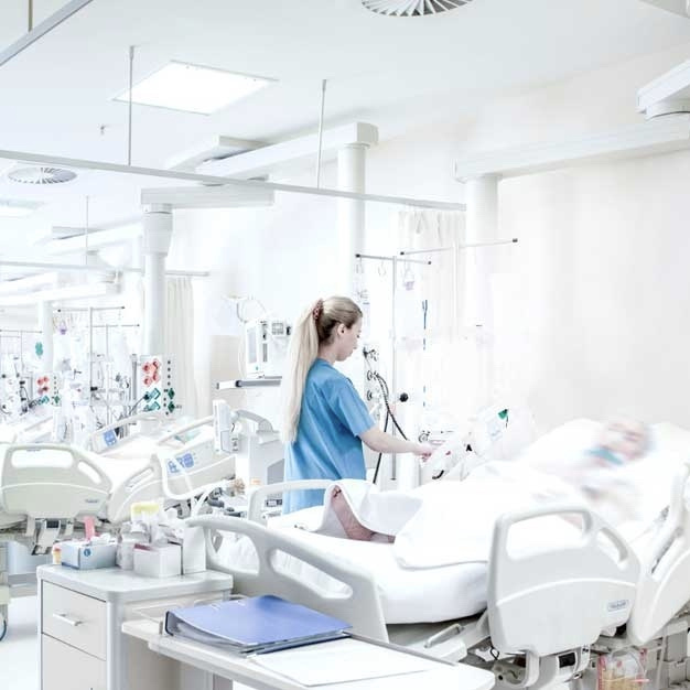 Tablet in front of Legrand hospital grade receptacles that are designed to withstand heavy usage.