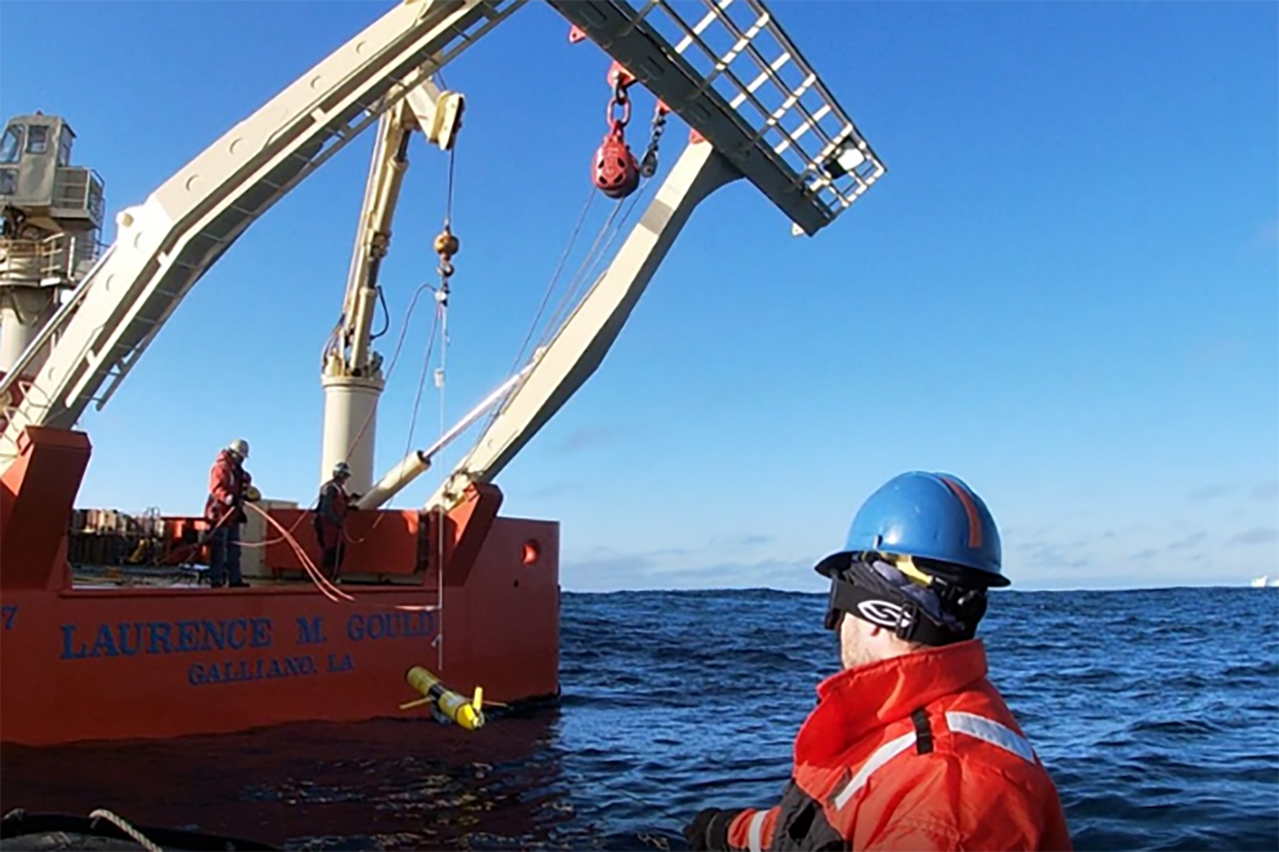 Deploying a glider in the Southern Ocean near Antarctica.