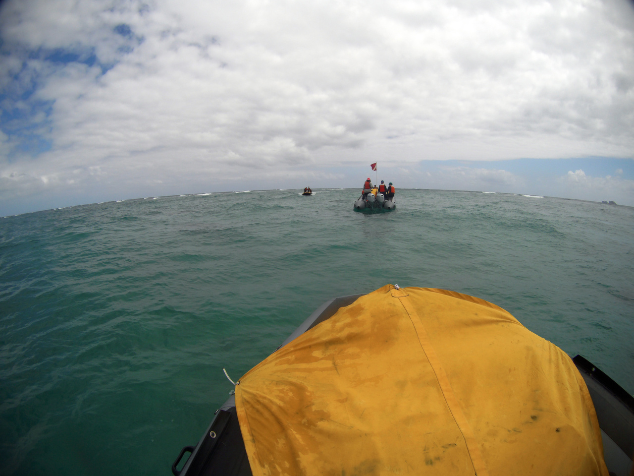 Small boat training in Kaneohe Bay to learn to navigate the reefs in the Northwestern Hawaiian Islands