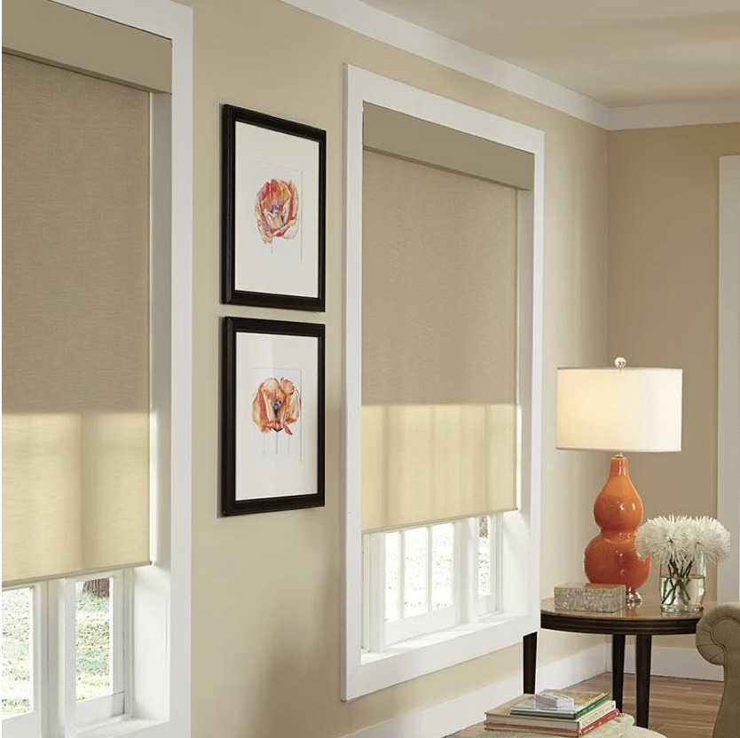 Fabric shades with Fascia covering to conceal the fabric roll