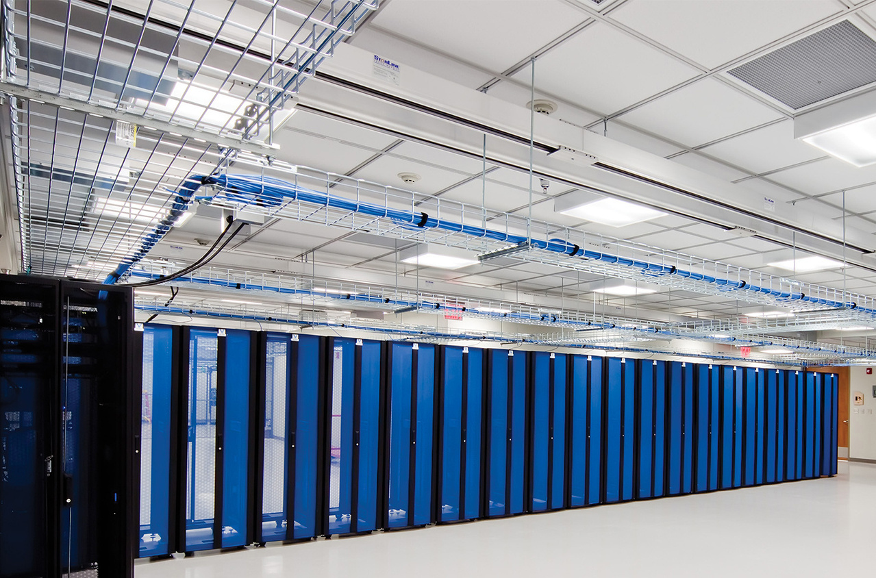 Data Center with blue racks