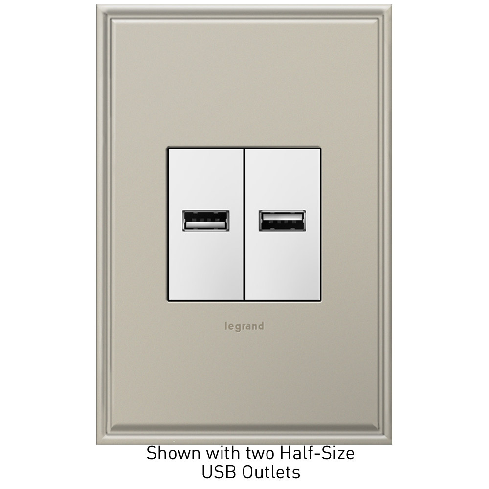 adorne Half Size White USB Outlet