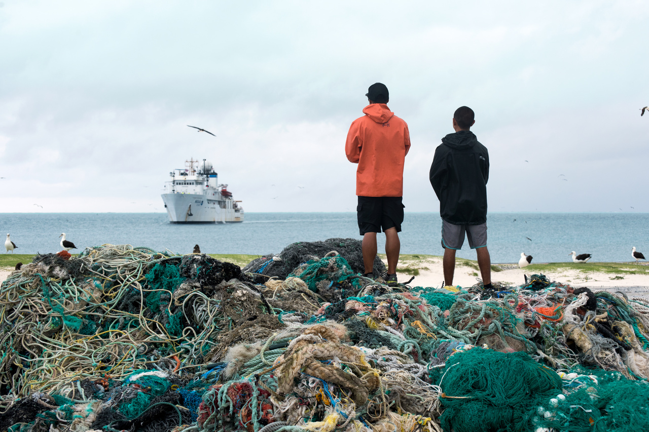 The NOAA ship brings collected fishing nets back to Honolulu to recycle into energy