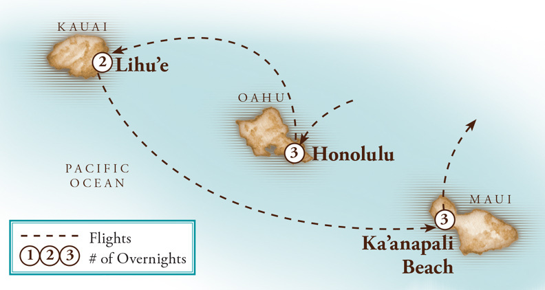 Tour Map for Hawaii Three Island Holiday