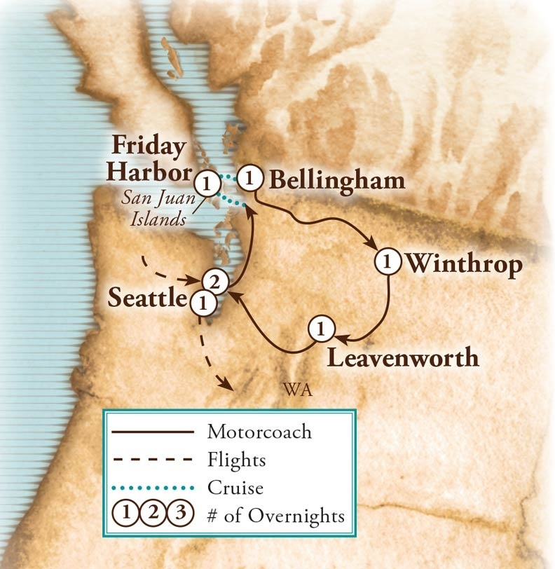 Tour Map for Pacific Northwest