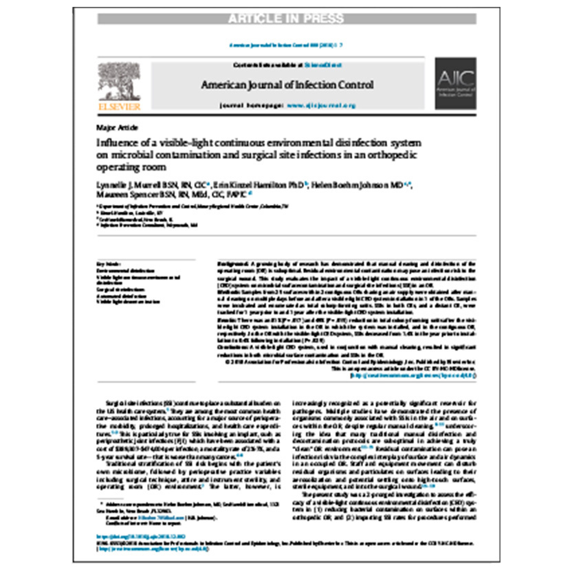 Influence of a visible-light continuous environmental disinfection system Peer Reviewed Article