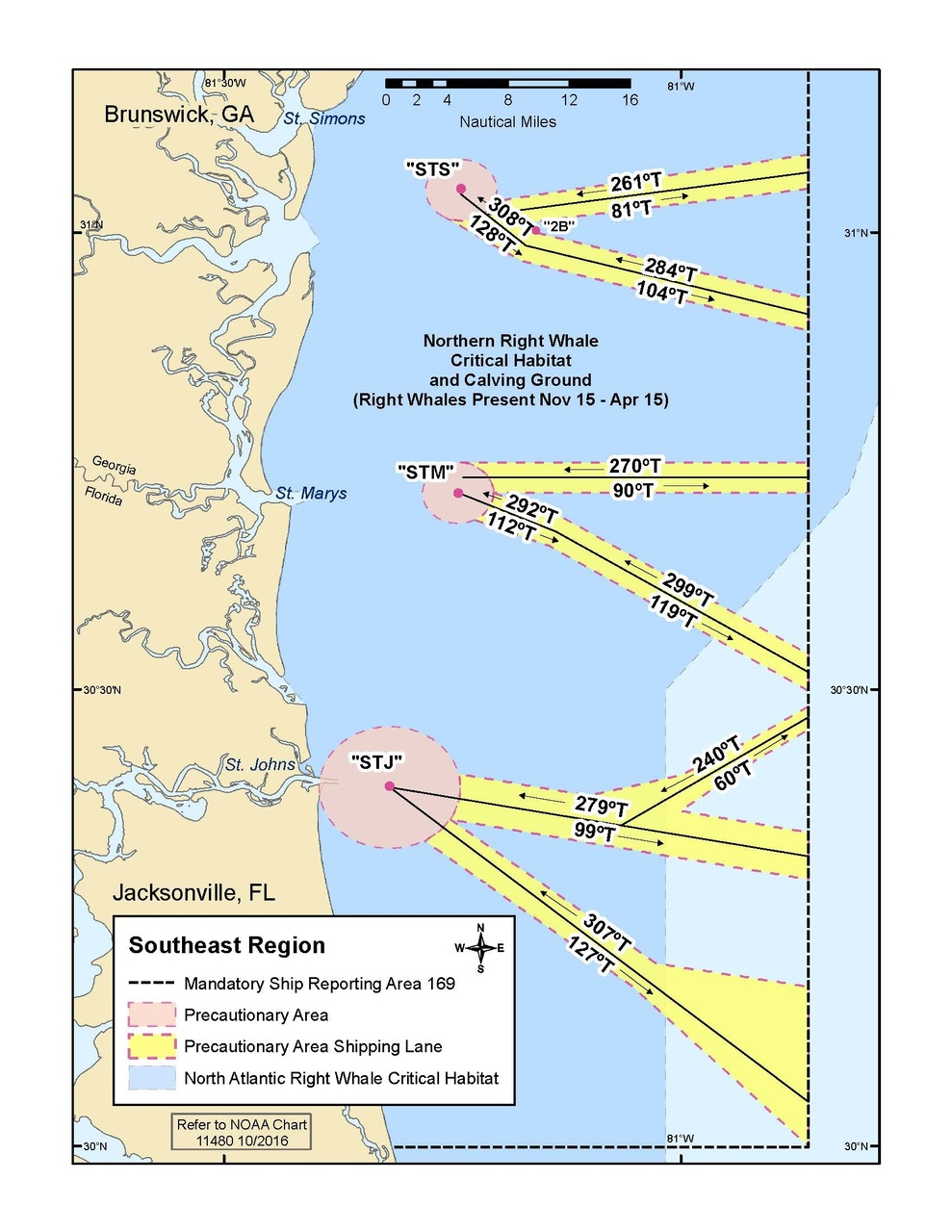 This is a map of recommended shipping lanes to protect whales in the Southeast Region.