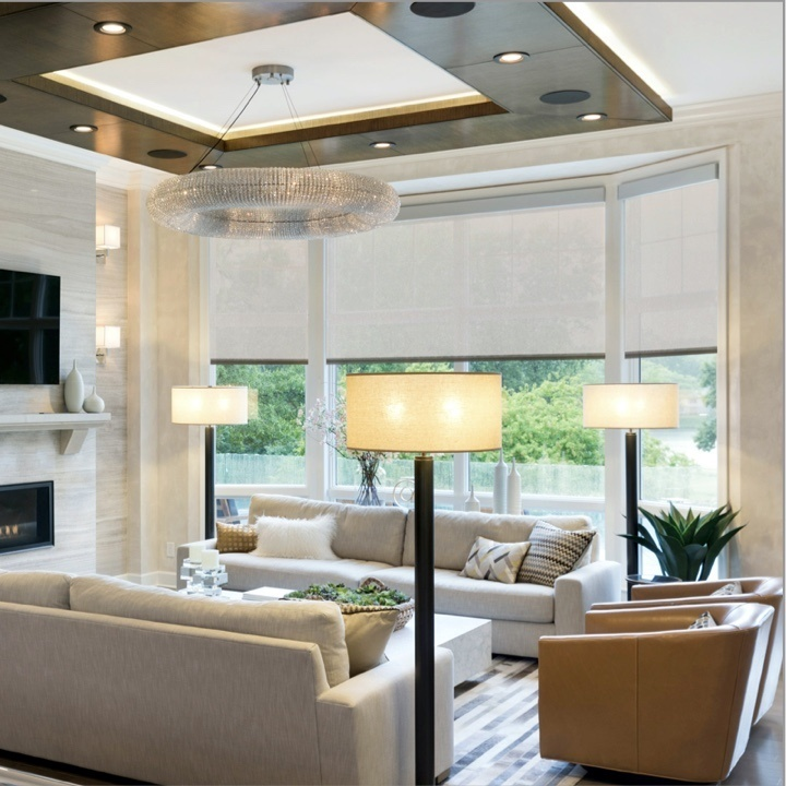 Residential Roller Shades in a living room of a home