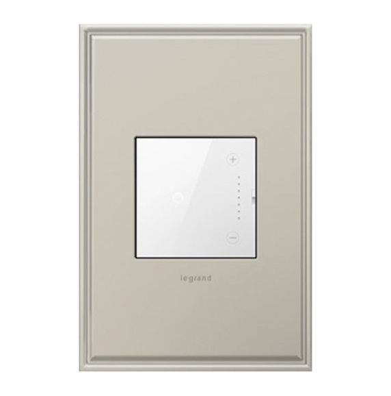 white adorne touch dimmer and wall plate