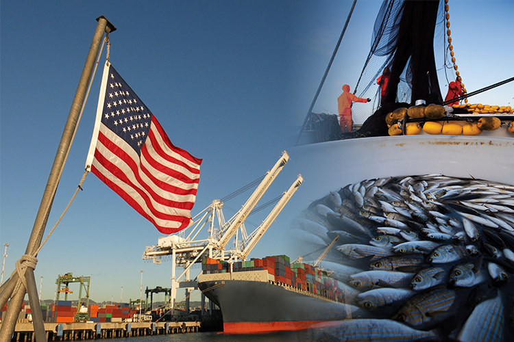 Composite image: American flag, ships, and fishermen at sea.
