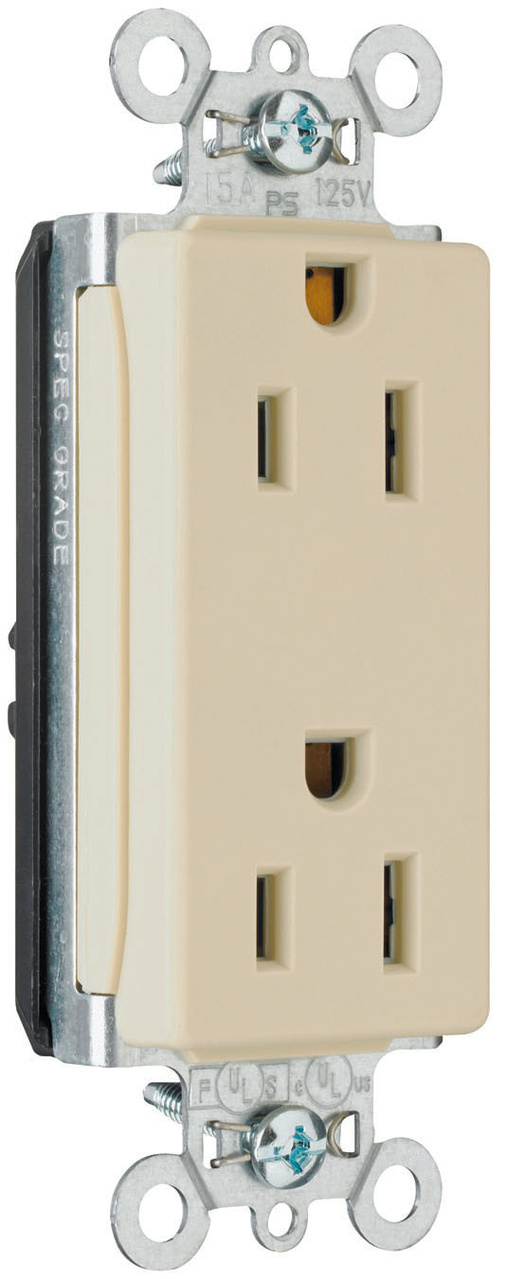 PlugTail® Decorator Spec Grade Receptacles, 15A, 125V, Light Almond
